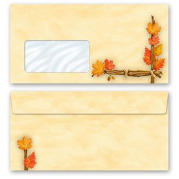 10 patterned envelopes GOLDEN AUTUMN in standard DIN long...
