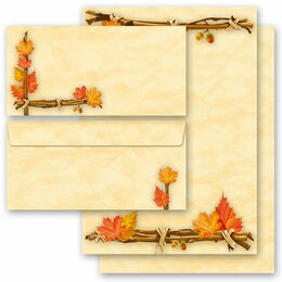 40-pc. Complete Motif Letter Paper-Set GOLDEN AUTUMN