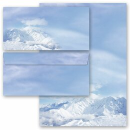 20-pc. Complete Motif Letter Paper-Set MOUNTAINS IN THE SNOW