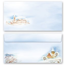 10 patterned envelopes WINTER LANDSCAPE in standard DIN...