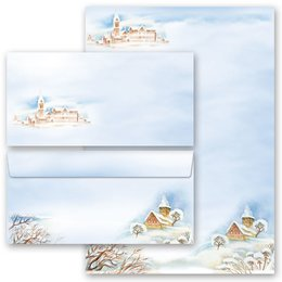 40-pc. Complete Motif Letter Paper-Set WINTER LANDSCAPE