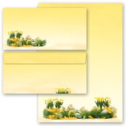 20-pc. Complete Motif Letter Paper-Set EASTER GREETINGS