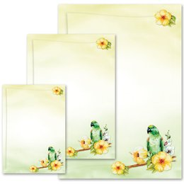 Motif Letter Paper! GREEN PARROT Animals