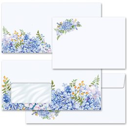 Motif envelopes! BLUE HYDRANGEAS Flowers motif