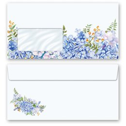10 patterned envelopes BLUE HYDRANGEAS in standard DIN...
