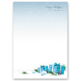 Motif Letter Paper! BLUE CHRISTMAS PRESENTS 20 sheets DIN A4