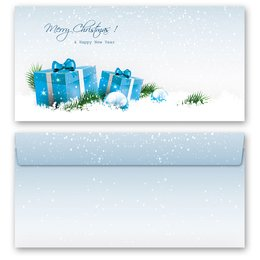 10 patterned envelopes BLUE CHRISTMAS PRESENTS in...