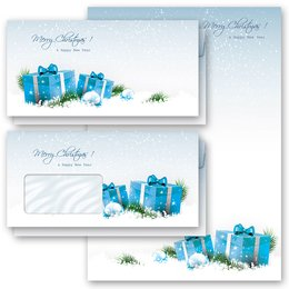 Motif Letter Paper-Sets BLUE CHRISTMAS PRESENTS Christmas...