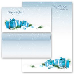 20-pc. Complete Motif Letter Paper-Set BLUE CHRISTMAS...