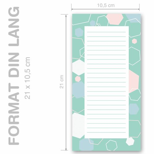 Notepads HEXAGONS | DIN LONG Format