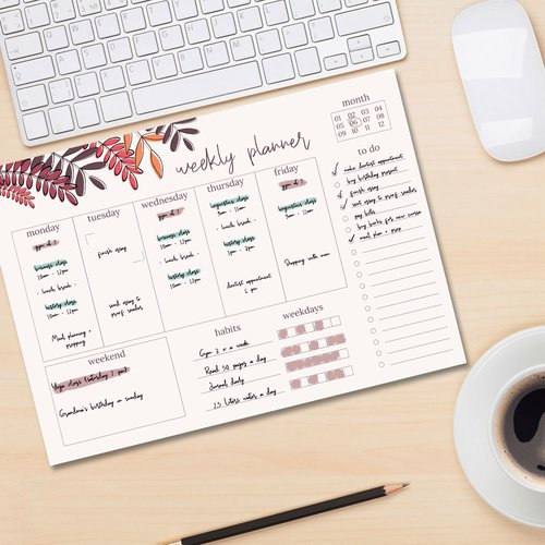 Weekly planner pad RED LEAVES | DIN A4 Format