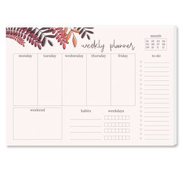 Wochenplaner-Pad RED LEAVES | DIN A4 Format