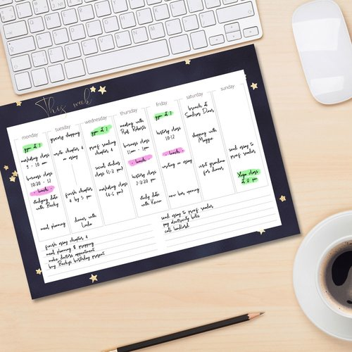 Weekly planner pad STARS | DIN A4 Format