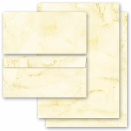 20-pc. Complete Motif Letter Paper-Set MARBLE LIGHT YELLOW