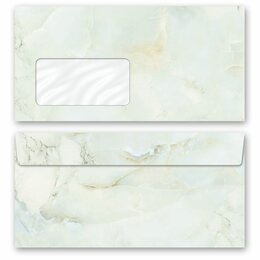 10 patterned envelopes MARBLE LIGHT GREEN in standard DIN...
