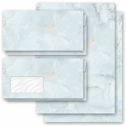 Motif Letter Paper-Sets MARBLE LIGHT BLUE Marble paper