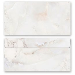 10 patterned envelopes MARBLE NATURAL in standard DIN...