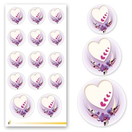 Sticker-Sheet HEART WITH PURPLE ORCHIDS Decoration
