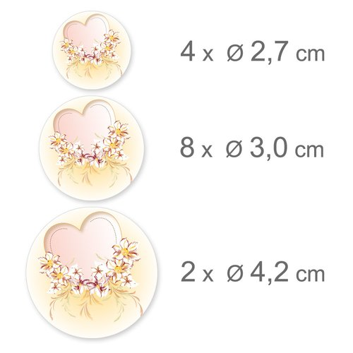 Sticker-Sheet HEART WITH PINK FLOWERS Decoration