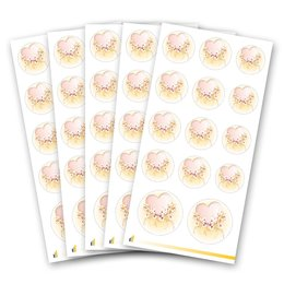 Sticker-Sheet HEART WITH PINK FLOWERS - 5 sheets with 70...