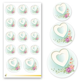 Sticker-Sheet HEART WITH PEONIES Decoration