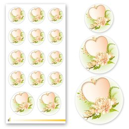 Sticker-Sheet HEART WITH WATER ROSES Flowers motif