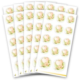 Sticker-Sheet HEART WITH WATER ROSES - 10 sheets with 140...