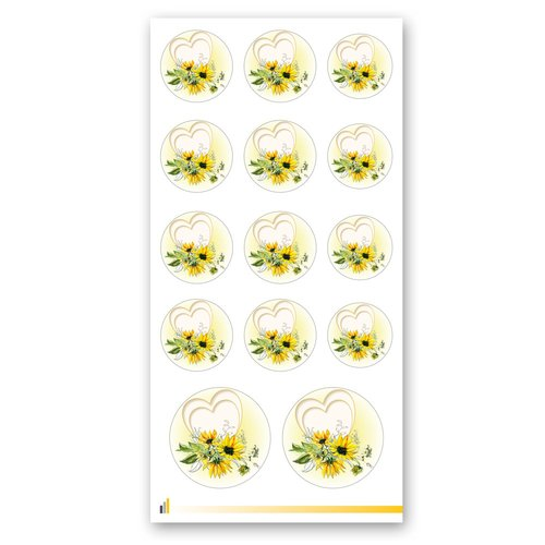 Sticker-Sheet HEART WITH SUNFLOWERS Flowers motif