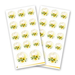 Sticker-Sheet HEART WITH SUNFLOWERS - 2 sheets with 28...