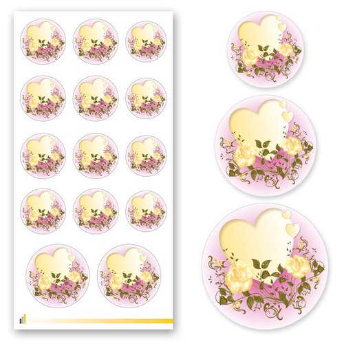 Sticker-Sheet HEART WITH YELLOW ROSES Flowers motif