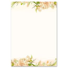 Motif Letter Paper! PEONIES 20 sheets DIN A4