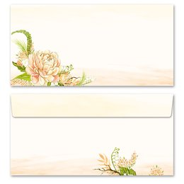10 patterned envelopes PEONIES in standard DIN long...