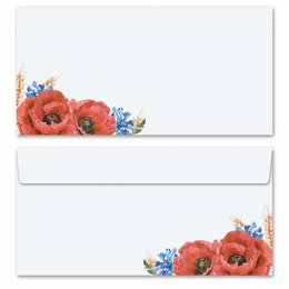 10 patterned envelopes FIELD FLOWERS in standard DIN long...