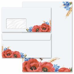 40-pc. Complete Motif Letter Paper-Set FIELD FLOWERS