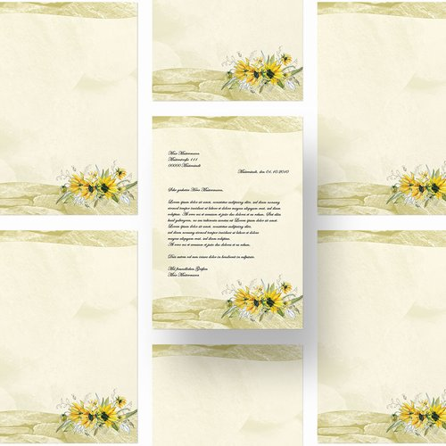 Motif Letter Paper! YELLOW SUNFLOWERS