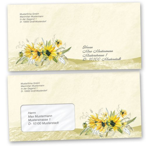Motif Letter Paper-Sets YELLOW SUNFLOWERS