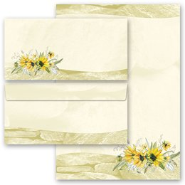 20-pc. Complete Motif Letter Paper-Set YELLOW SUNFLOWERS