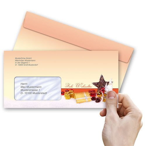 50 patterned envelopes BEAUTIFUL CHRISTMAS in standard DIN long format (with windows)