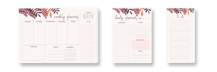 Weekly Planner, Daily Planner and to do-list RED LEAVES